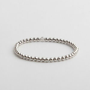 Tory Burch Silver Logo Metal Beaded Bracelet New